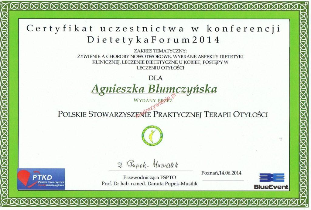 Certyfikat, Dietetyka Forum 2014, Poznań