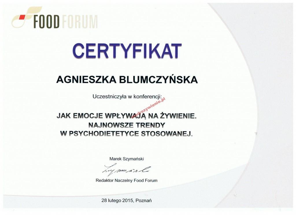 Certyfikat, Psychodietetyka, Poznań 2015