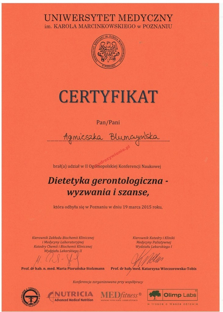 Certyfikat, Gerontologia, Poznań 2015