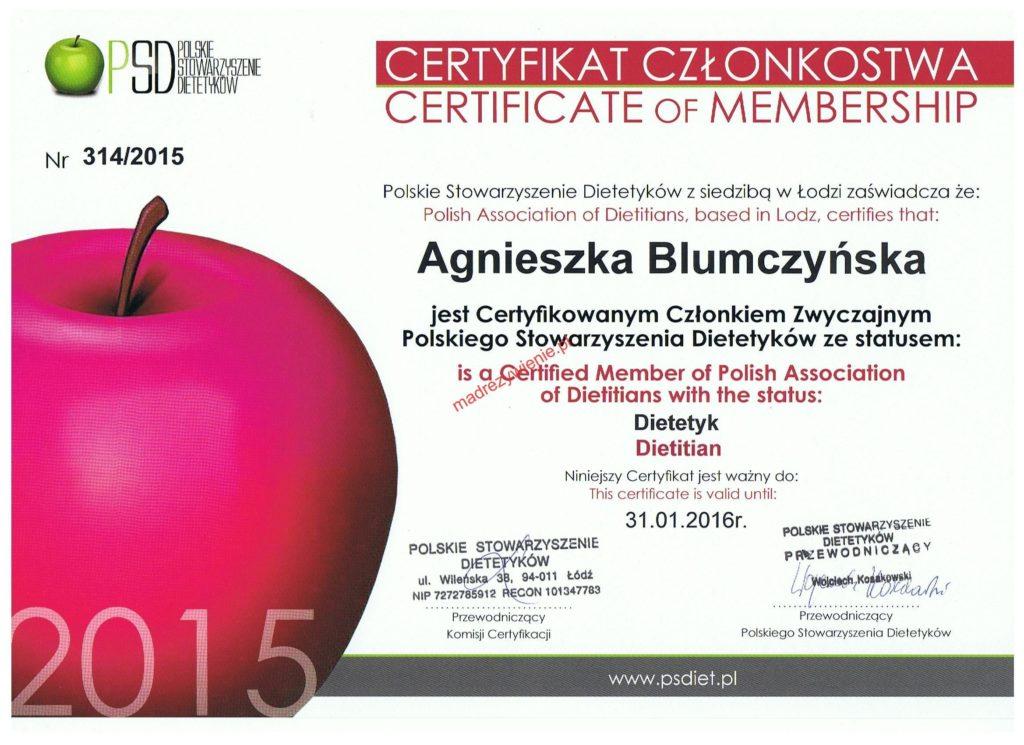 Dietetyk kliniczny - 2015 - certyfikat członkostwa PSD