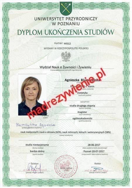 Dyplom ukończenia studiów magisterskich Agnieszka Blumczyńska