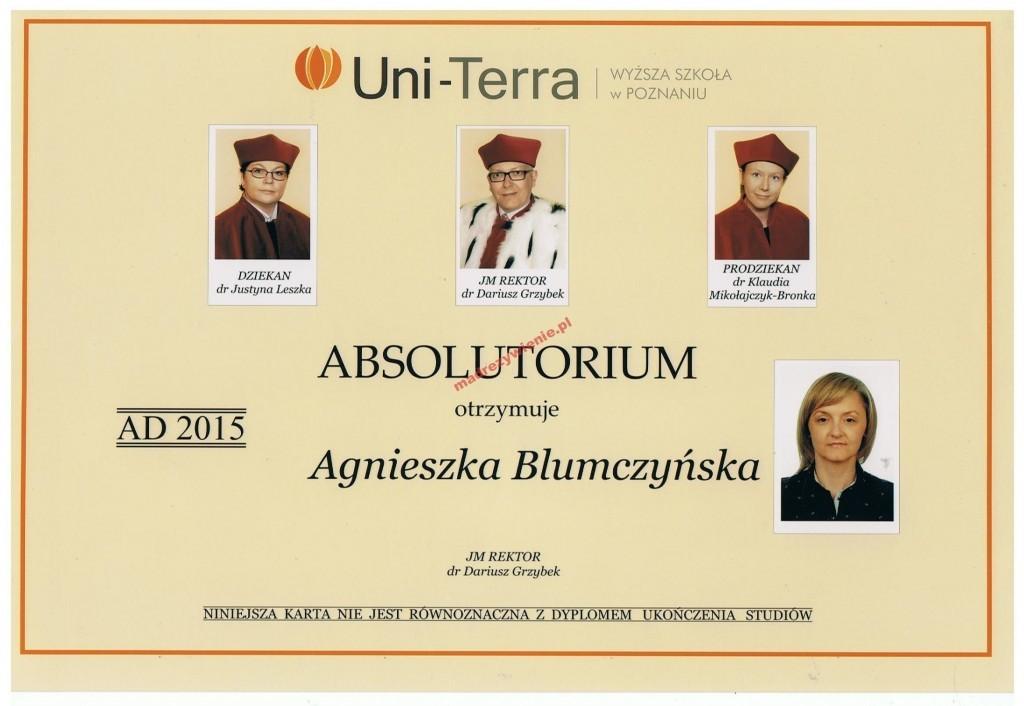 Absolutorium, Wyższa Szkoła wPoznaniu Uni-Terra, 2015, Dietetyk kliniczny, Agnieszka Blumczyńska
