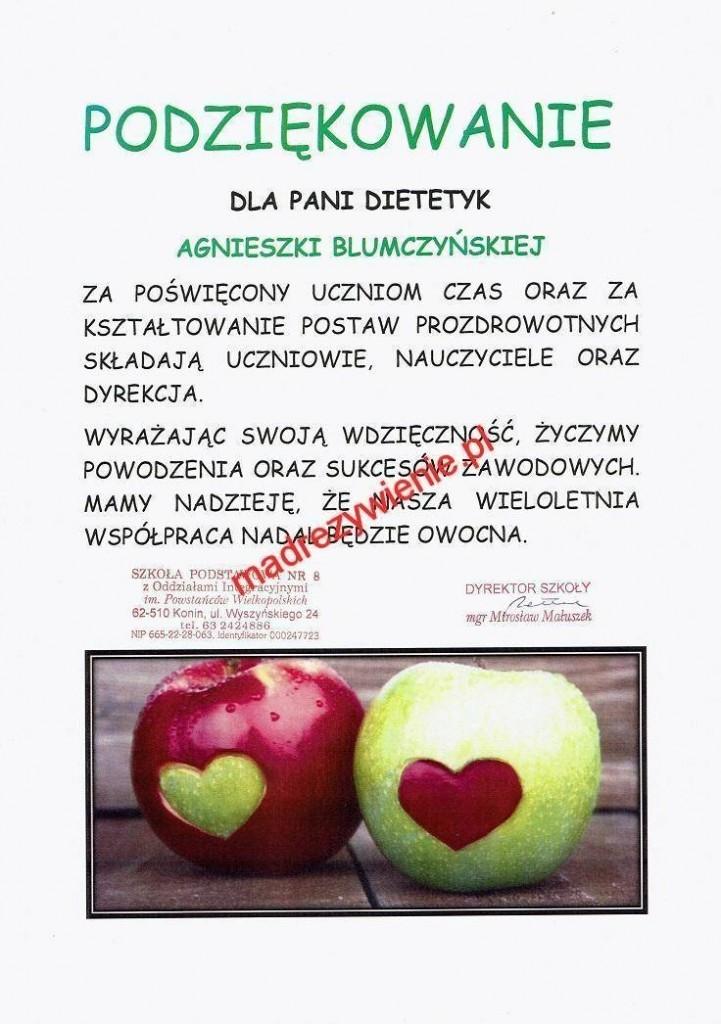 Podziękowania odSP8 dla Agnieszki Blumczyńskiej