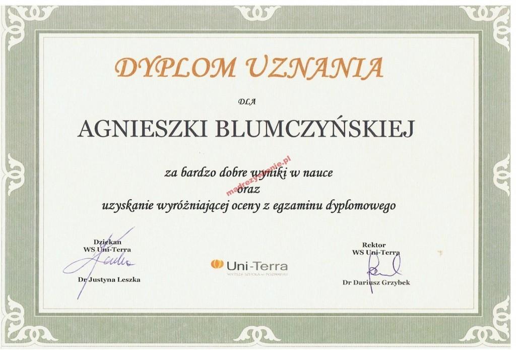 Dyplom uznania, Wyższa Szkoła wPoznaniu Uni-Terra, 2015, Dietetyk kliniczny