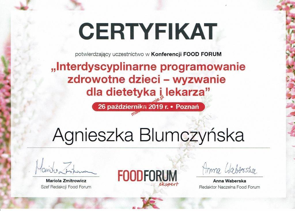 Certyfikat uczestnictwa wKonferencji FOOD FORUM